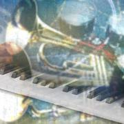 Abstract grunge music background with piano Stock Illustration
