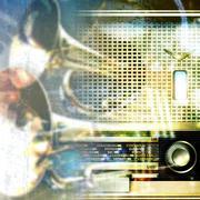 abstract grunge background with retro radio - stock illustration