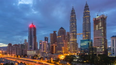 4k time lapse of dramatic sunrise at Kuala Lumpur city - stock footage
