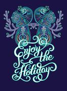 Enjoy the Holiday brush hand lettering inscription with two bird Stock Illustration