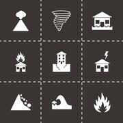 Vector black disaster icon set Stock Illustration