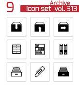 Vector black archive icons set - stock illustration