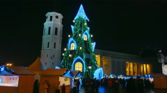 Christmas Fair and Christmas tree in Cathedral Square, December 23, 2015. Stock Footage