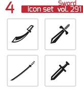 Vector black sword icons set Piirros