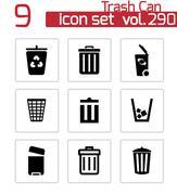 Vector black trash can icons set - stock illustration