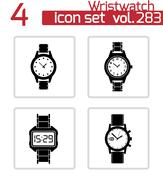 Vector black wristwatch icons set Stock Illustration