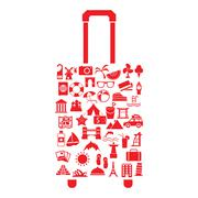 Vector travel suitcase with many icon Stock Illustration