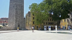 A view of The Captain's Tower  in Zadar, Croatia. Stock Footage