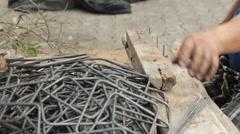 Close-up metalworking curving or bending steel Stock Footage