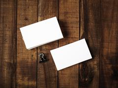 Blank business cards - top view - stock photo