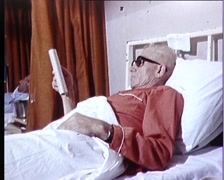 MEN IN HOSPITAL BED / CANCER TREATMENT Stock Footage
