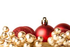 Christmas border with red ornament Stock Photos