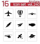 Vector black airplane icons set Stock Illustration