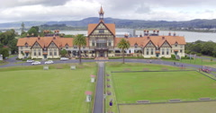 aerial of Rotorua city and museum, New Zealand - stock footage