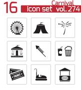 Vector black carnival icons set - stock illustration