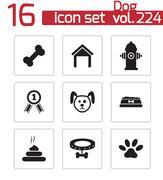 Vector black dog icons set - stock illustration
