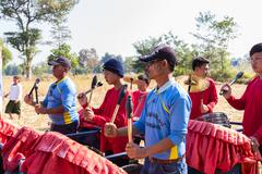 Thailand traditional musician band playing folk music Stock Photos