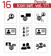 Vector black people search icons set Stock Illustration