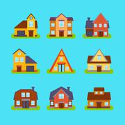 Suburban Real Estate Houses Collection - stock illustration