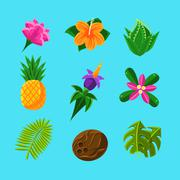 Tropical Plants And Fruits Set Stock Illustration