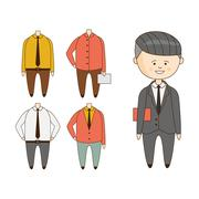 Different Outfits For Character Construction - stock illustration