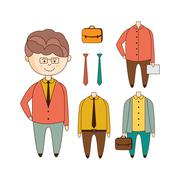 Different Outfits Construction Set - stock illustration