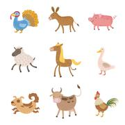 Farm Animals Collection Stock Illustration
