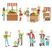 Farm Vegetables Market And People Farming Set - stock illustration