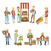 Farm Vegetables Market And People Farming Collection - stock illustration