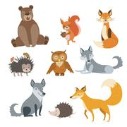 Forest Animals Set - stock illustration