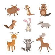 Forest Animals Collection - stock illustration
