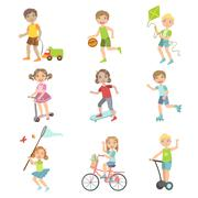 Kids Playing Outside Set - stock illustration