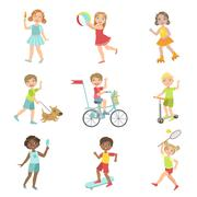 Kids Outdoor Activities Set - stock illustration