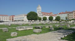 A view of St. St Mary's church from the forum in Zadar, Croatia. Stock Footage