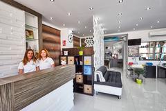 Orihuela, Spain- June 15, 2016: Beauty salon with modern design in European Stock Photos