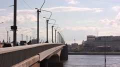 Alexander Nevsky Bridge over Neva river in Saint Petersburg Stock Footage
