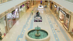 White corridor made of granite with two floors in the shopping center where Stock Footage