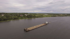 Aerial view:Barge on the river Stock Footage