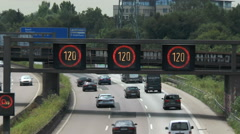 Variable-message signs on German highway Stock Footage