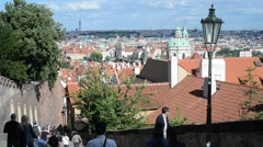 Tourists Walking Along the Old Castle Stairs in Prague Castle - stock footage