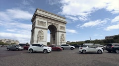 TRIUMPHAL ARCH - PARIS. France. View of Place Charles de Gaulle. Stock Footage