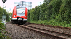 Low-angle view of a passing German S-Bahn Stock Footage