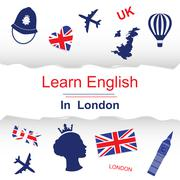 Learn english in London poster Stock Illustration