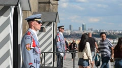 Castle Guard Stands Guard in Front of Prague Castle Stock Footage