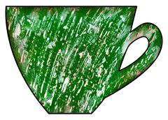 Cup of tea and coffee. Handmade. Watercolor, Mixed media. Green grunge textur - stock illustration
