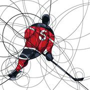 Ice hockey player in red and black dress - stock illustration