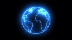 Flickering blue neon light globe 4K Stock Footage