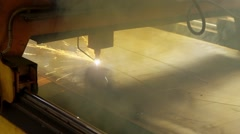 Lights of sparks on the plasma cutter while cutting a big metal sheet Stock Footage