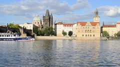 Trip Boat on the Vltava River in Prague in the Summer, Czech Republic - stock footage