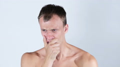 Young man  in pain topless , stress , depressed , anexity , upset Stock Footage